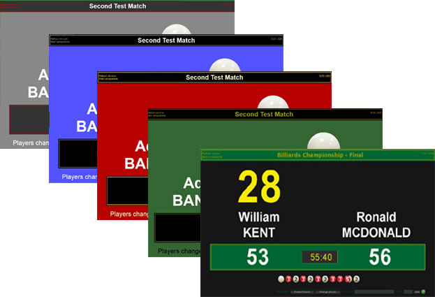 Billiards scoreboard colour changes