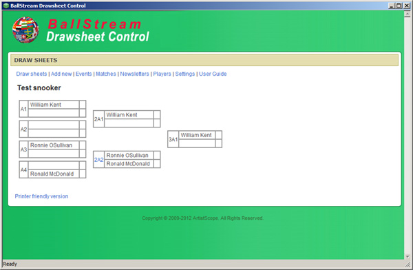 drawsheet control panel