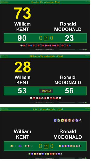 Live Scoreboard Control for Snooker, Billiards and Pool